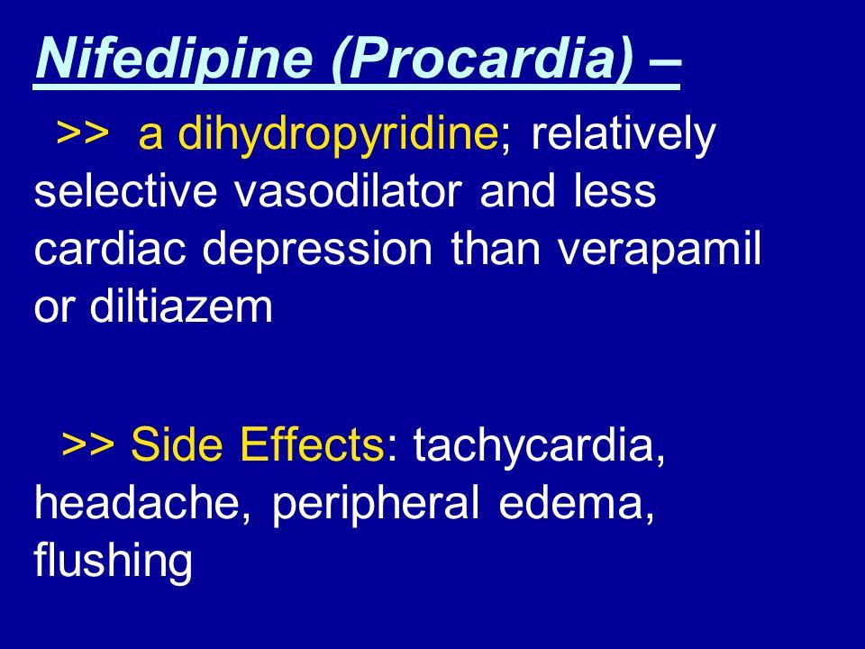 Nifedipine (Procardia) –