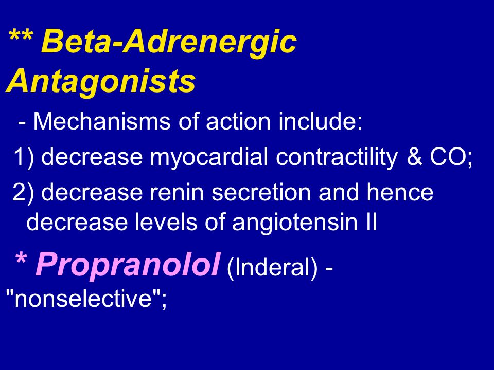 ** Beta-Adrenergic Antagonists