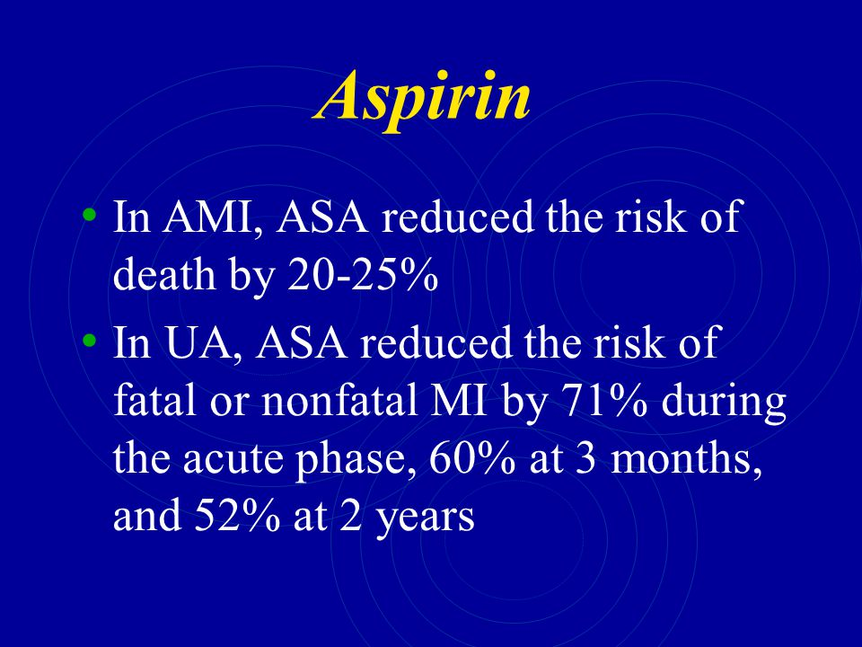 Aspirin In AMI, ASA reduced the risk of death by 20-25%