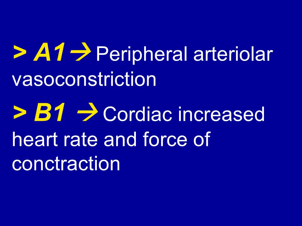 > A1 Peripheral arteriolar vasoconstriction