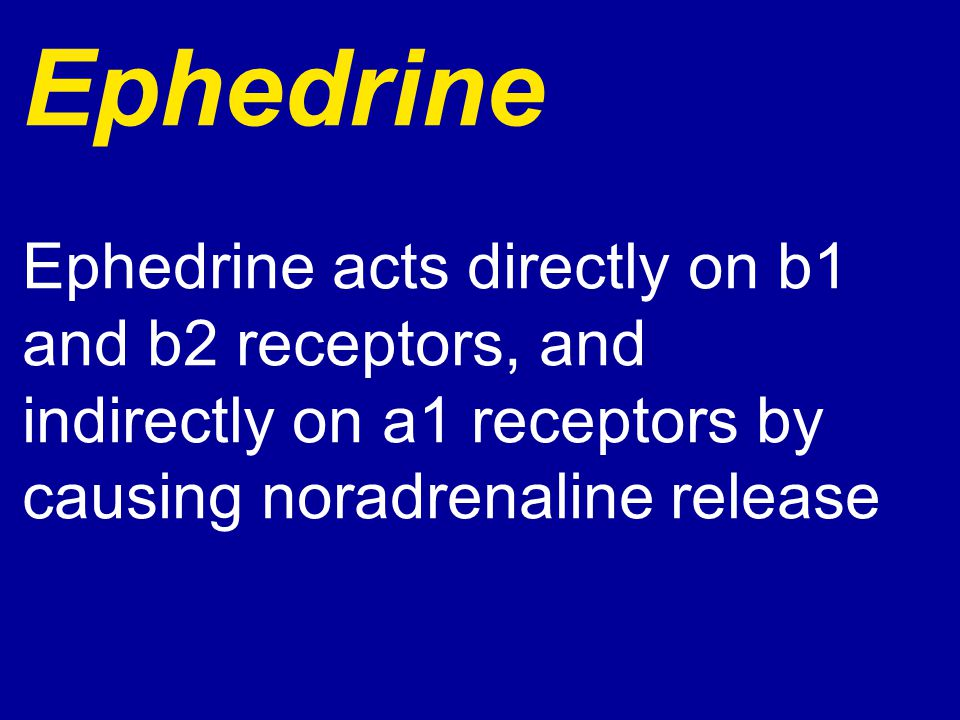 Ephedrine Ephedrine acts directly on b1 and b2 receptors, and indirectly on a1 receptors by causing noradrenaline release.