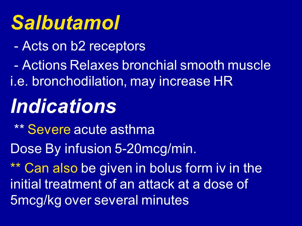 Salbutamol Indications - Acts on b2 receptors