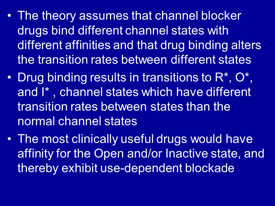 The theory assumes that channel blocker drugs bind different channel states with different affinities and that drug binding alters the transition rates between different states