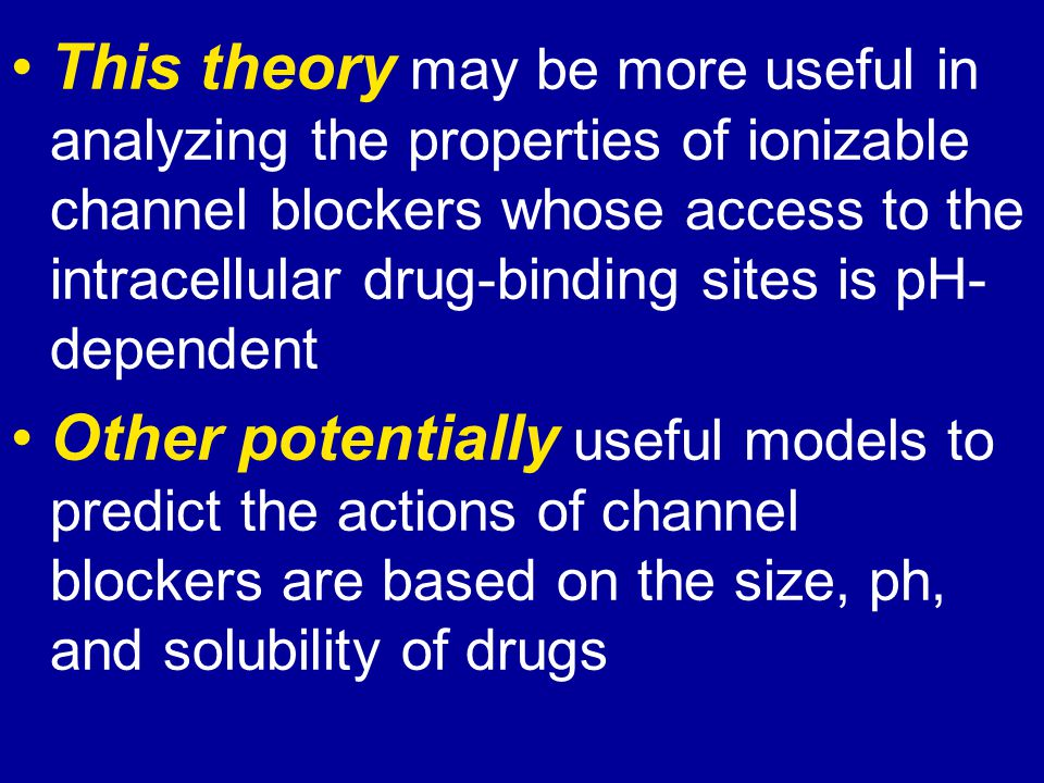 This theory may be more useful in analyzing the properties of ionizable channel blockers whose access to the intracellular drug-binding sites is pH-dependent