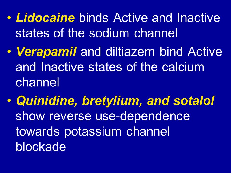 Lidocaine binds Active and Inactive states of the sodium channel