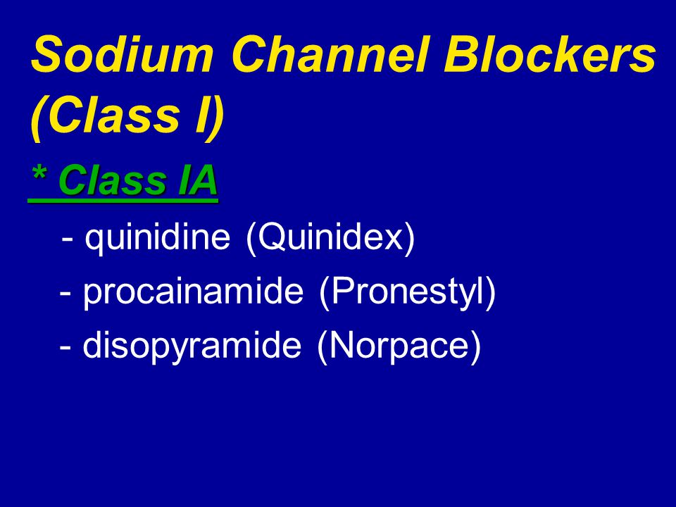 Sodium Channel Blockers (Class I)
