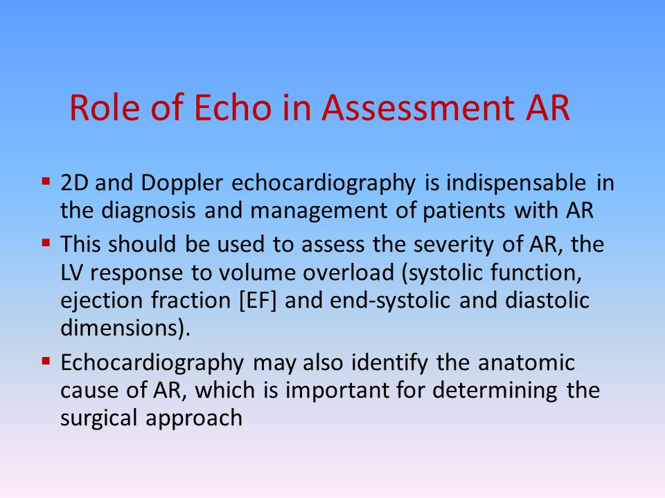Role of Echo in Assessment AR