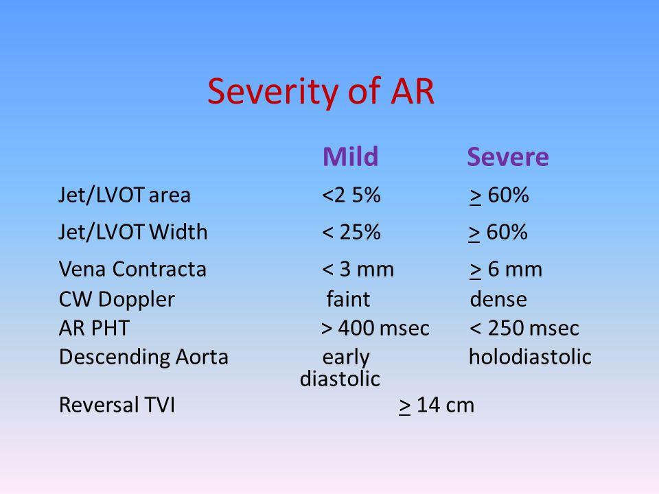 Severity of AR Mild Severe Jet/LVOT area <2 5% > 60%