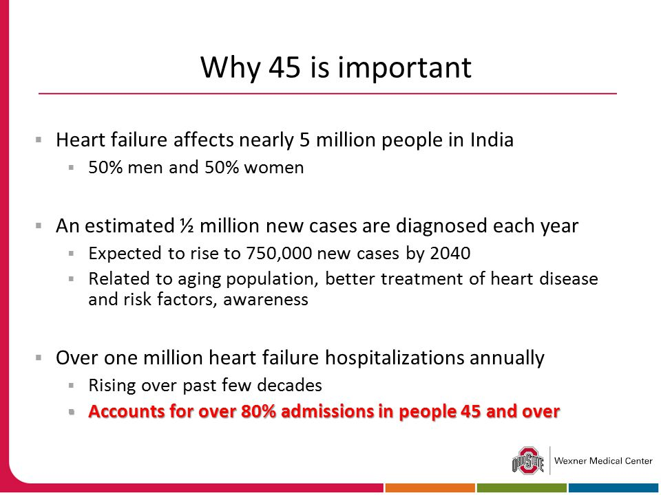 Why 45 is important Heart failure affects nearly 5 million people in India. 50% men and 50% women.