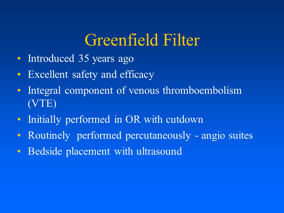 Greenfield Filter Introduced 35 years ago