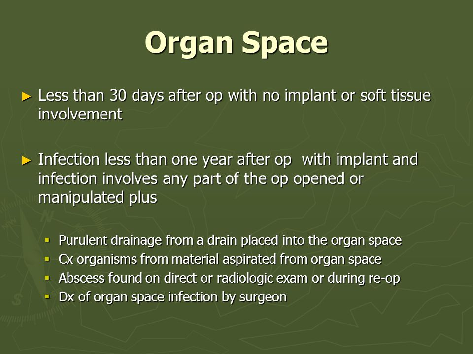 Organ Space Less than 30 days after op with no implant or soft tissue involvement.