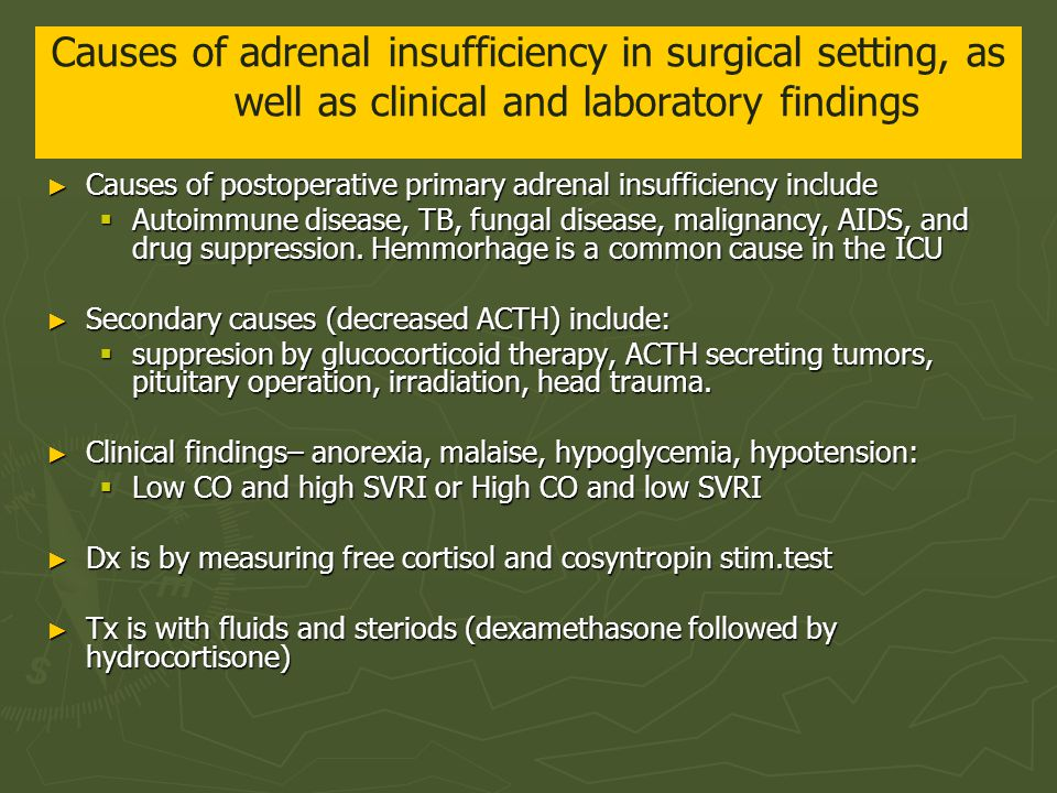 Causes of adrenal insufficiency in surgical setting, as well as clinical and laboratory findings