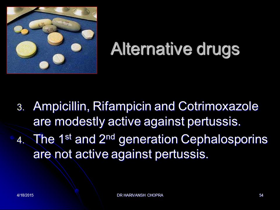 Alternative drugs Ampicillin, Rifampicin and Cotrimoxazole are modestly active against pertussis.