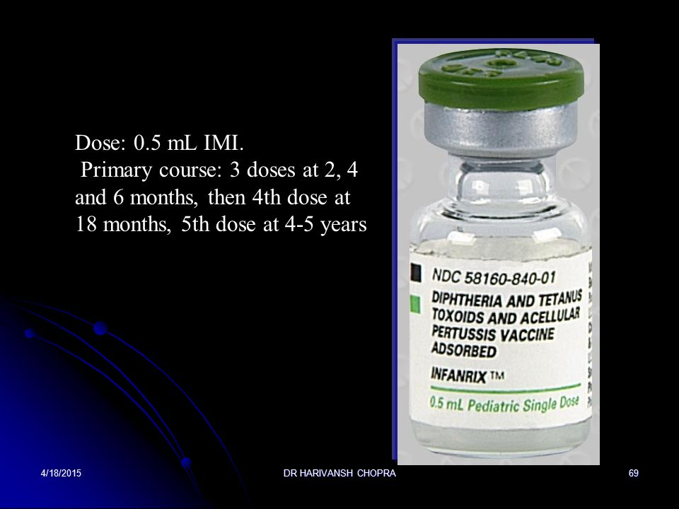 Dose: 0.5 mL IMI. Primary course: 3 doses at 2, 4 and 6 months, then 4th dose at 18 months, 5th dose at 4-5 years.