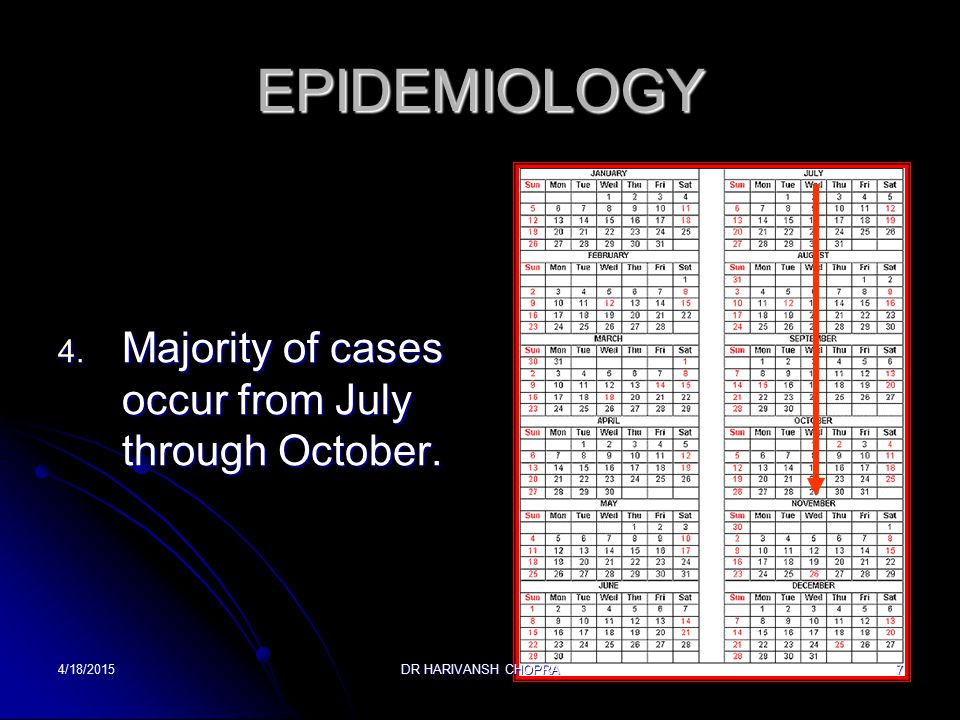 EPIDEMIOLOGY Majority of cases occur from July through October.