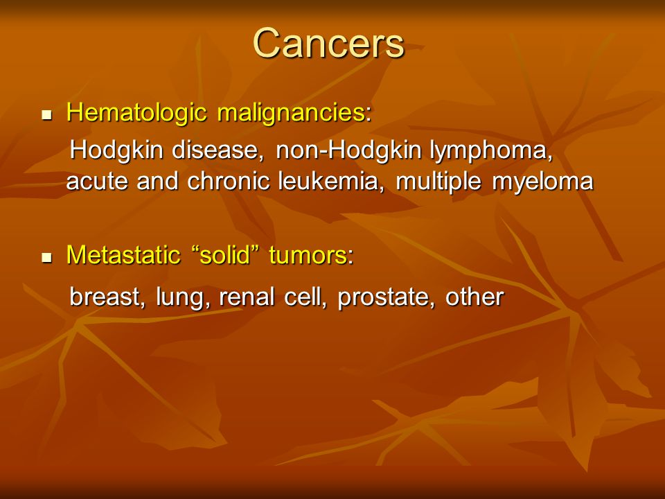 Cancers Hematologic malignancies: