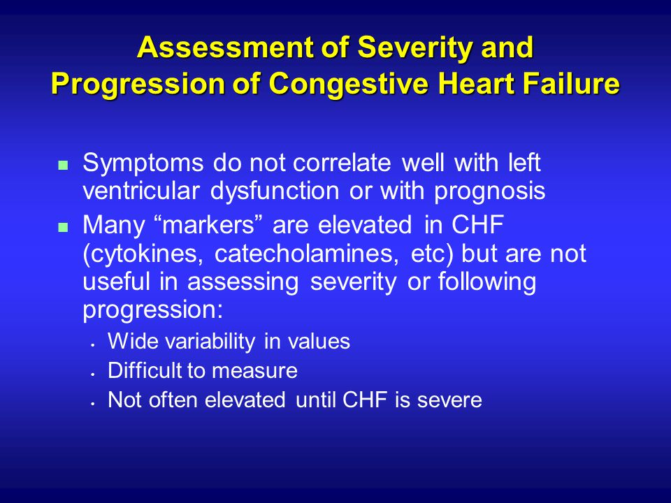 Assessment of Severity and Progression of Congestive Heart Failure