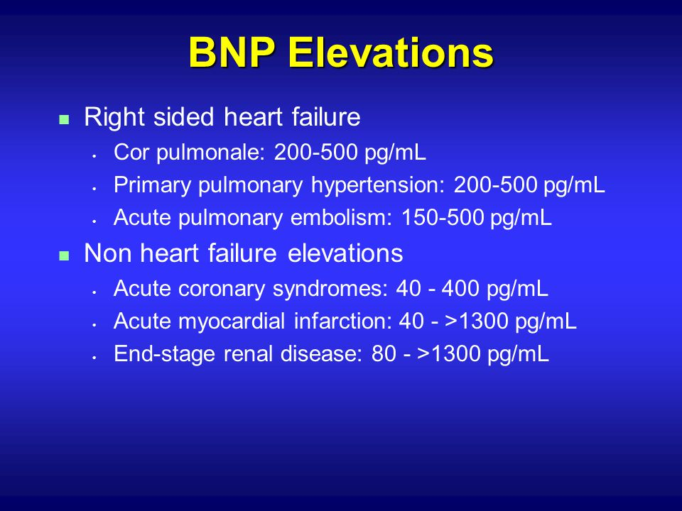 BNP Elevations Right sided heart failure Non heart failure elevations