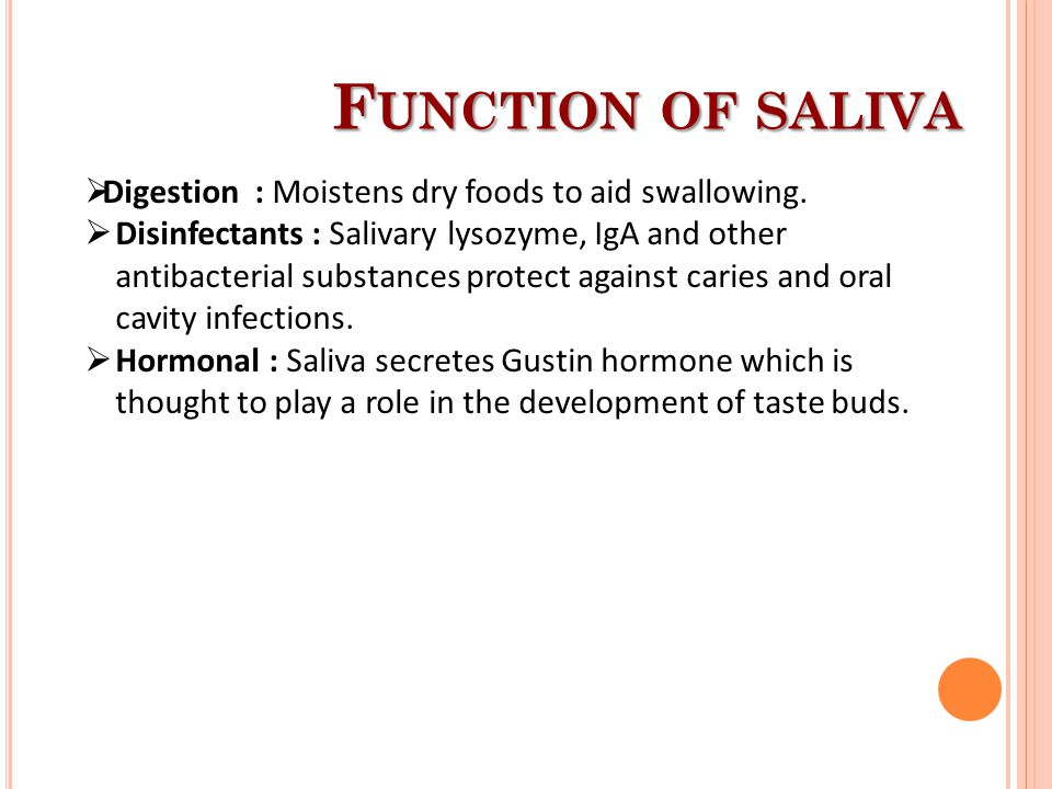 Function of saliva Digestion : Moistens dry foods to aid swallowing.