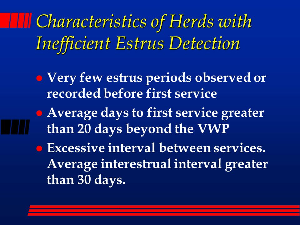 Characteristics of Herds with Inefficient Estrus Detection