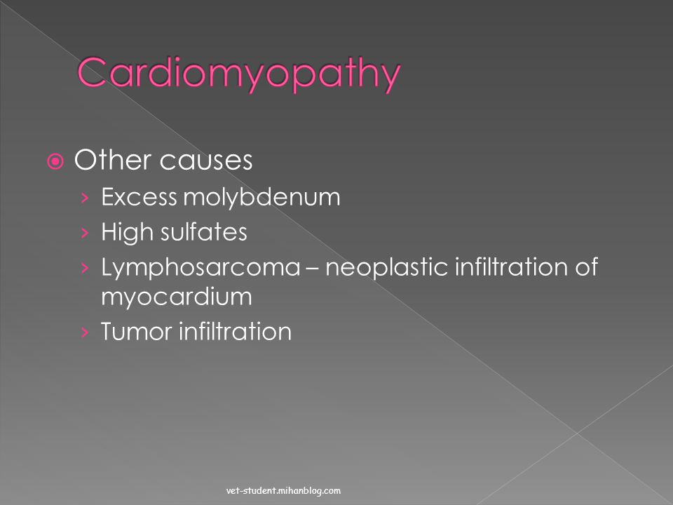 Cardiomyopathy Other causes Excess molybdenum High sulfates