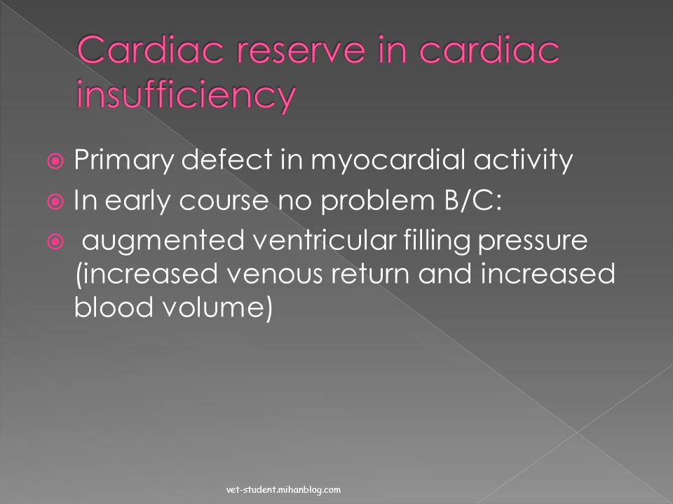 Cardiac reserve in cardiac insufficiency