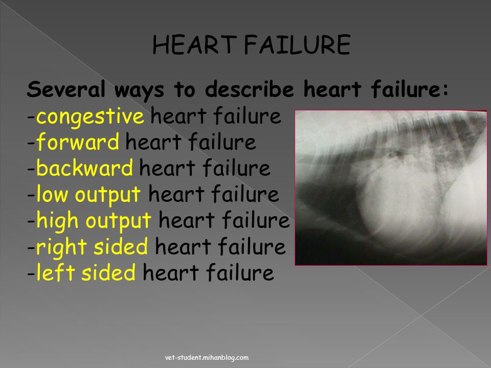 HEART FAILURE Several ways to describe heart failure: