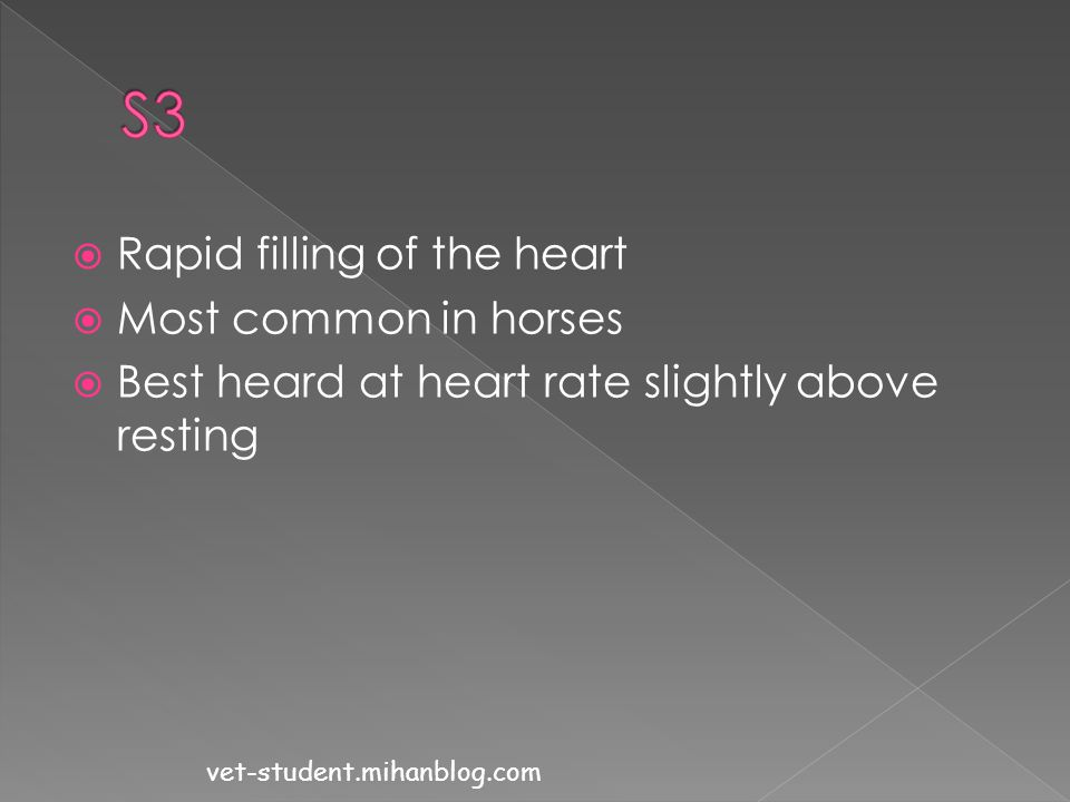 S3 Rapid filling of the heart Most common in horses