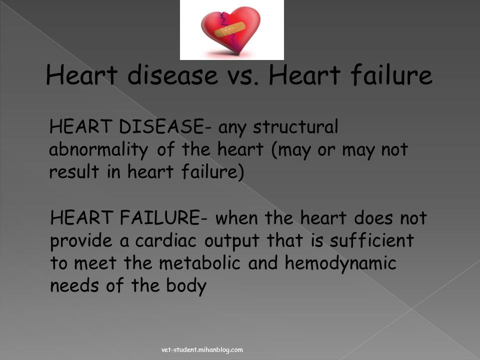 Heart disease vs. Heart failure
