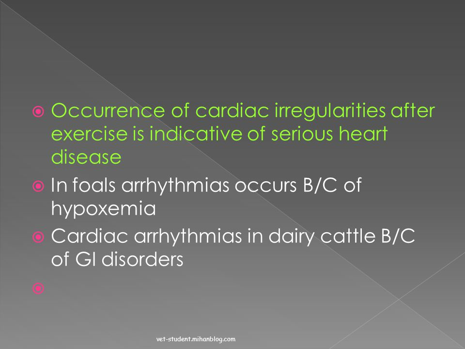 In foals arrhythmias occurs B/C of hypoxemia