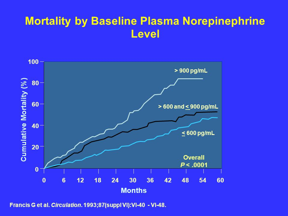 Mortality by Baseline Plasma Norepinephrine Level