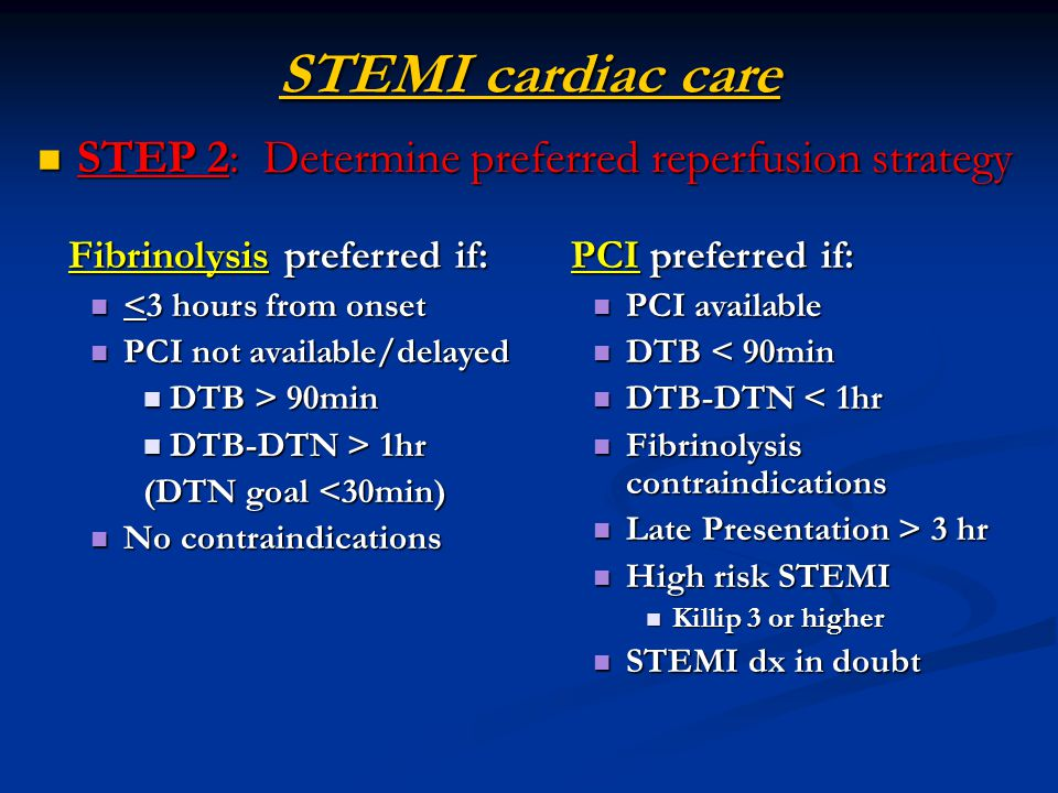 STEMI cardiac care STEP 2: Determine preferred reperfusion strategy