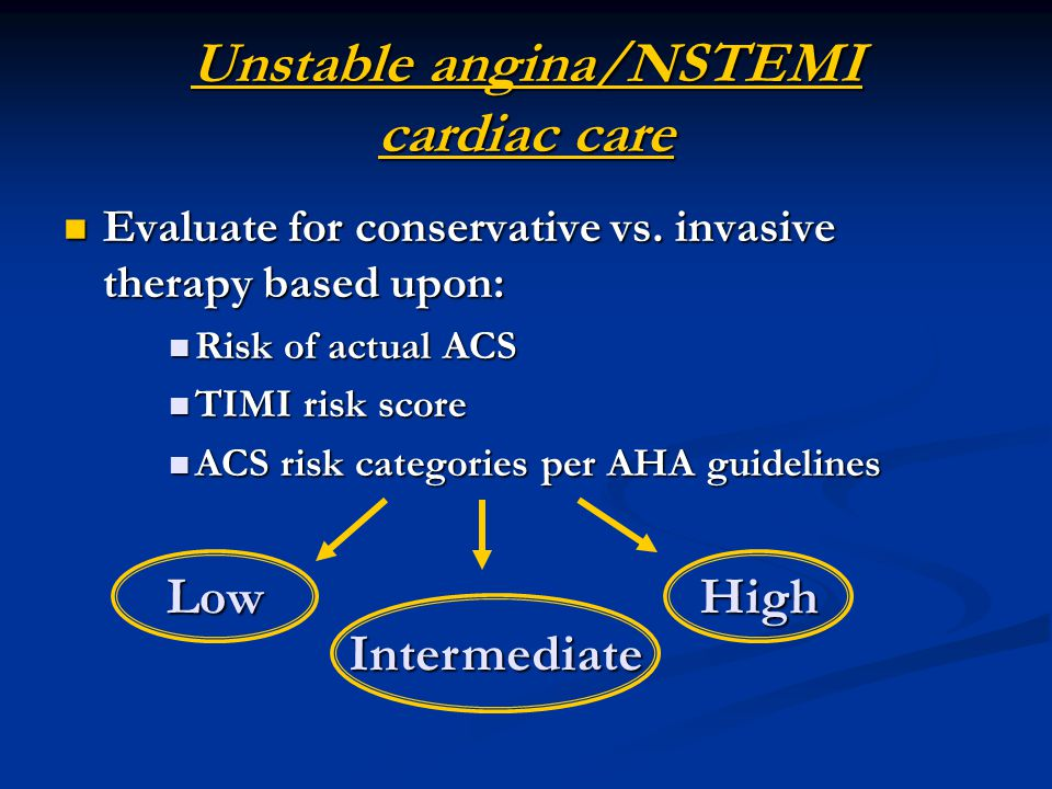 Unstable angina/NSTEMI cardiac care