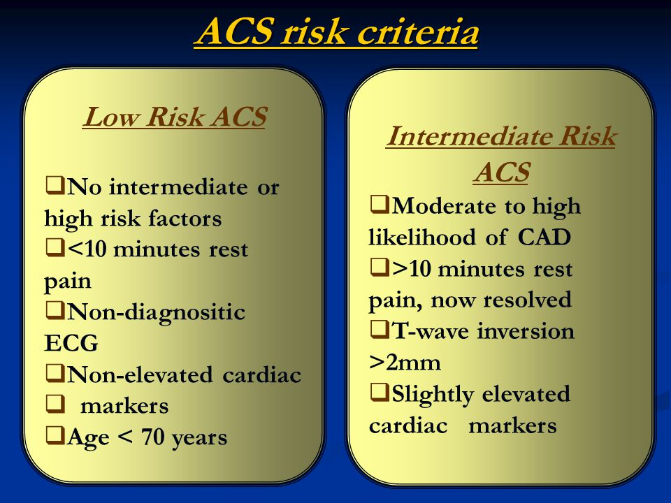 ACS risk criteria Low Risk ACS Intermediate Risk ACS