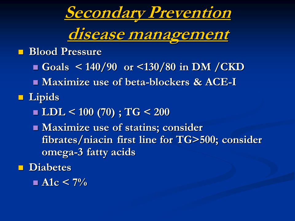 Secondary Prevention disease management