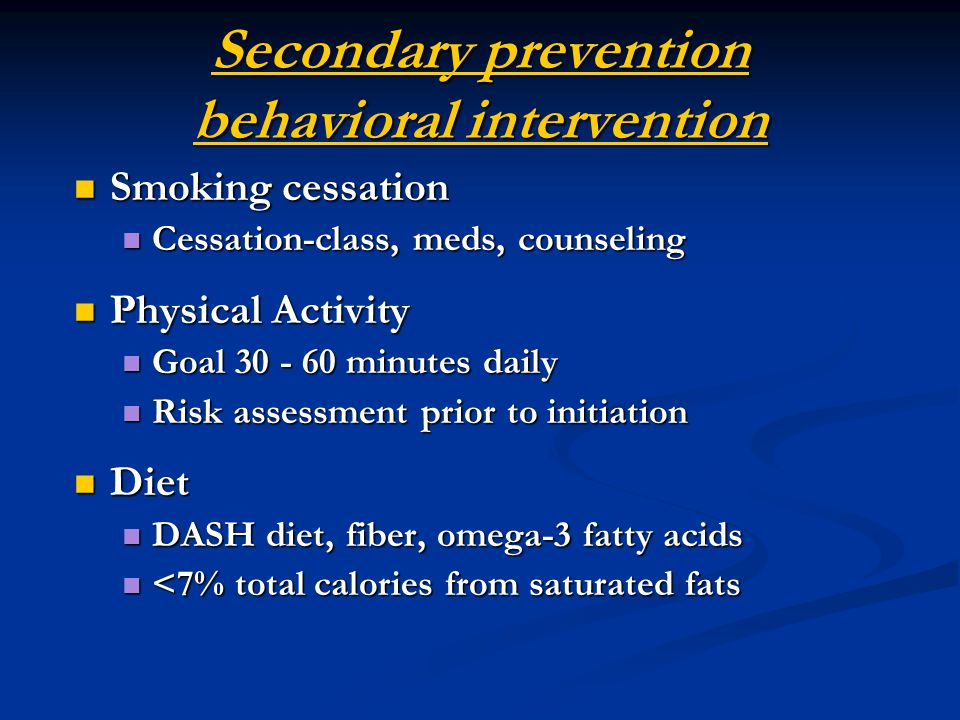 Secondary prevention behavioral intervention
