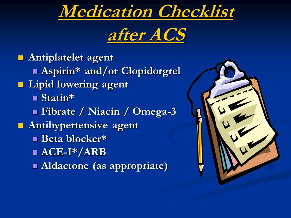 Medication Checklist after ACS