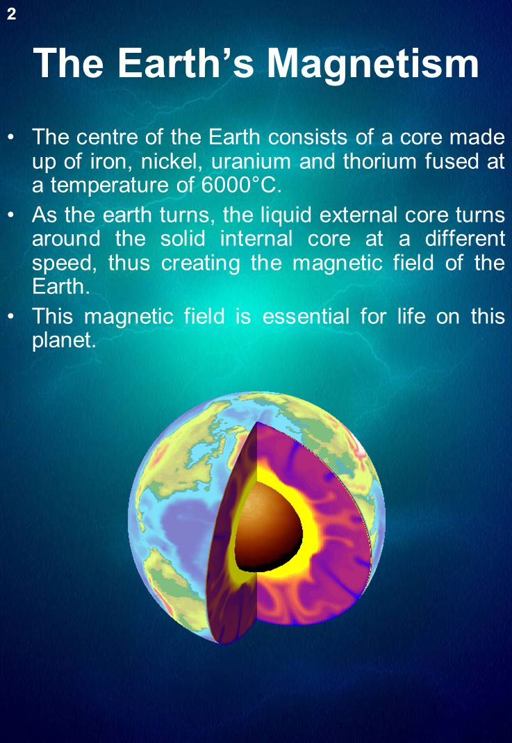 The Earth's Magnetism 2. The centre of the Earth consists of a core made up of iron, nickel, uranium and thorium fused at a temperature of 6000°C.