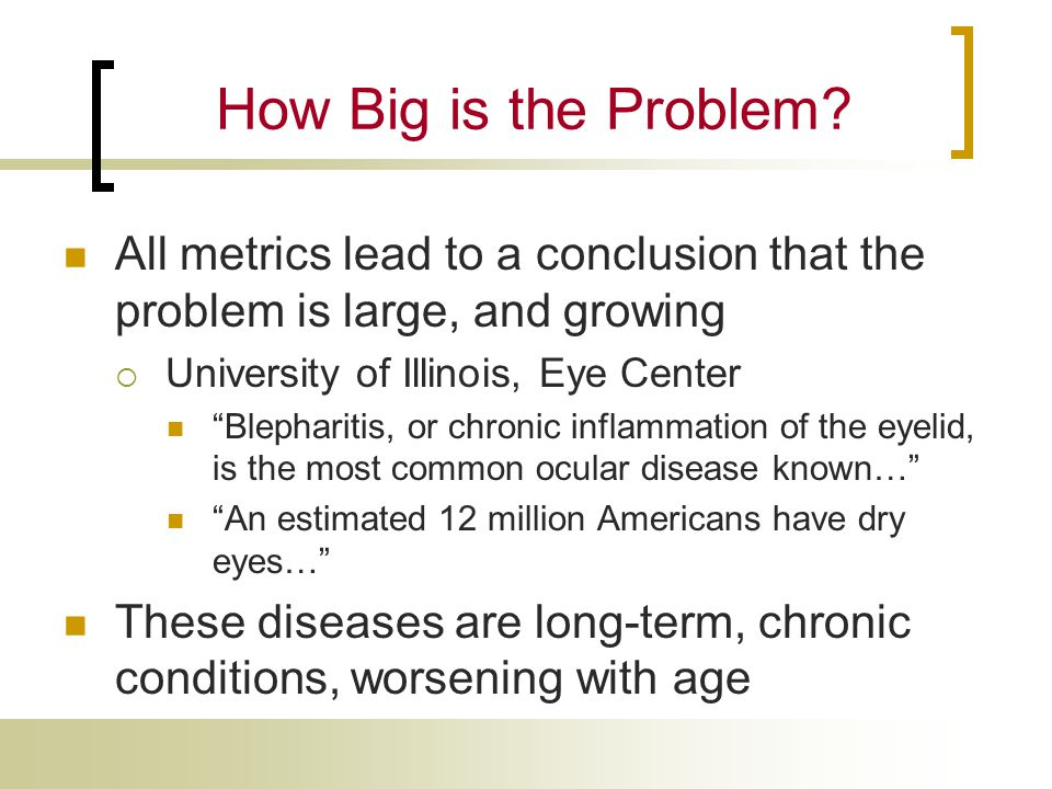 How Big is the Problem All metrics lead to a conclusion that the problem is large, and growing. University of Illinois, Eye Center.