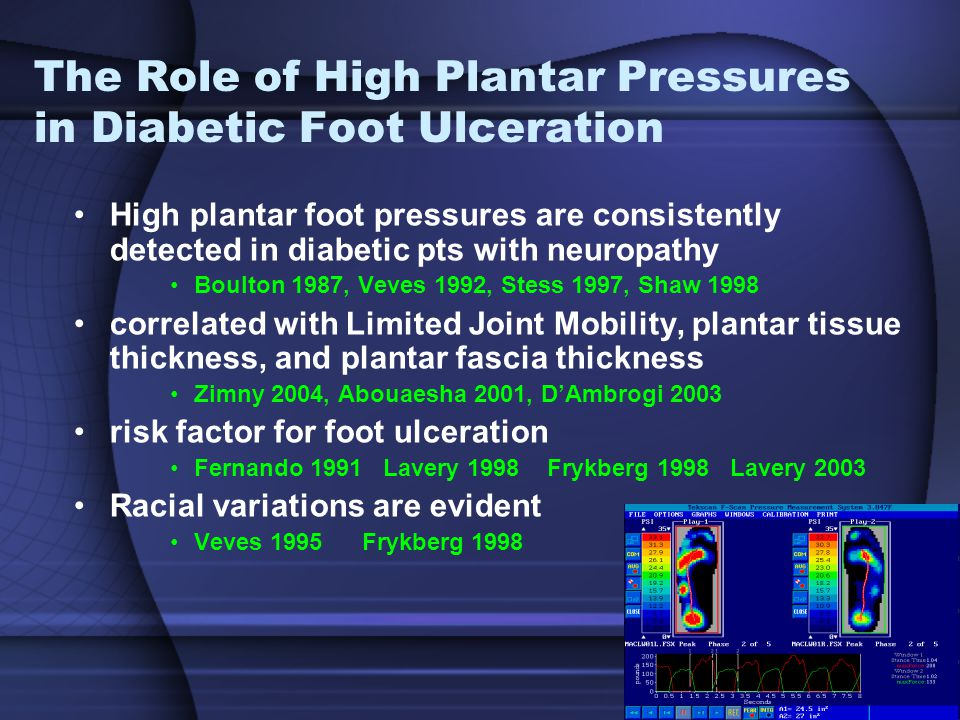 The Role of High Plantar Pressures in Diabetic Foot Ulceration