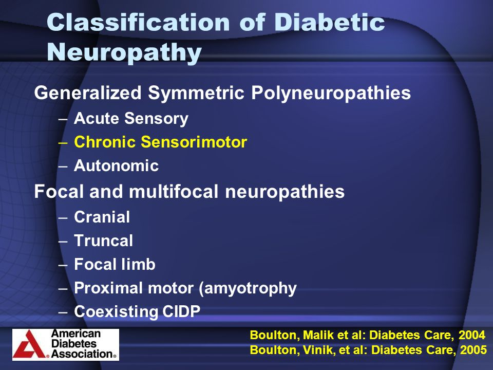 Classification of Diabetic Neuropathy