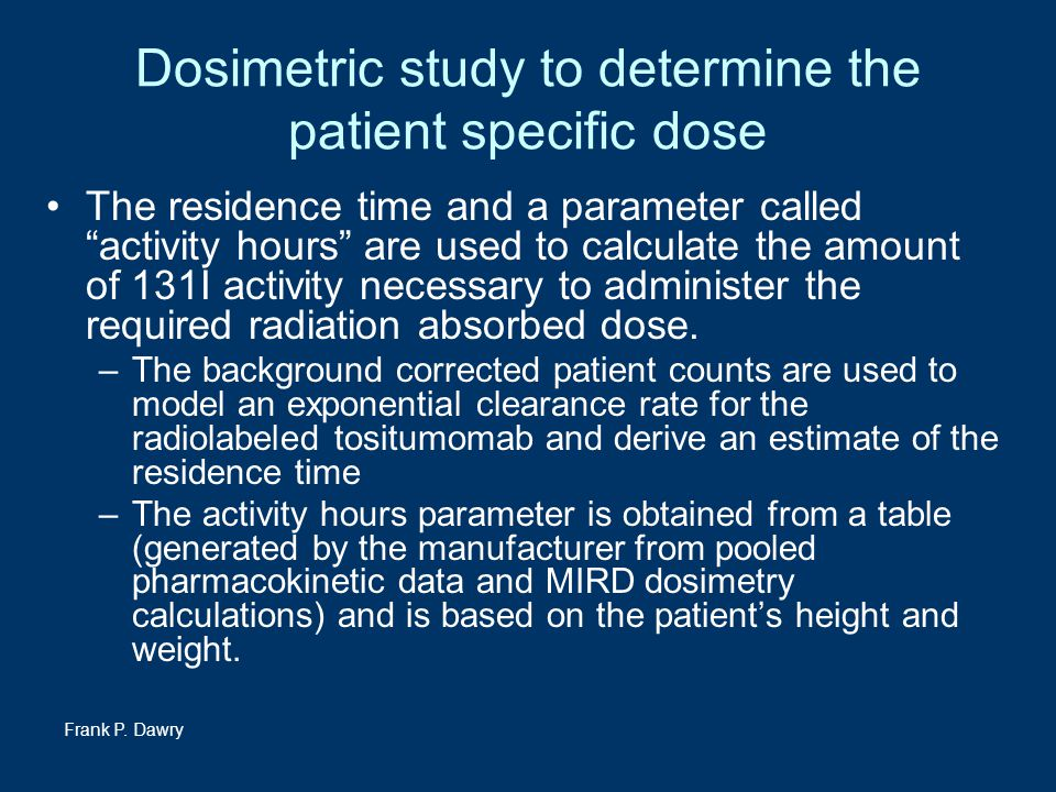 Dosimetric study to determine the patient specific dose