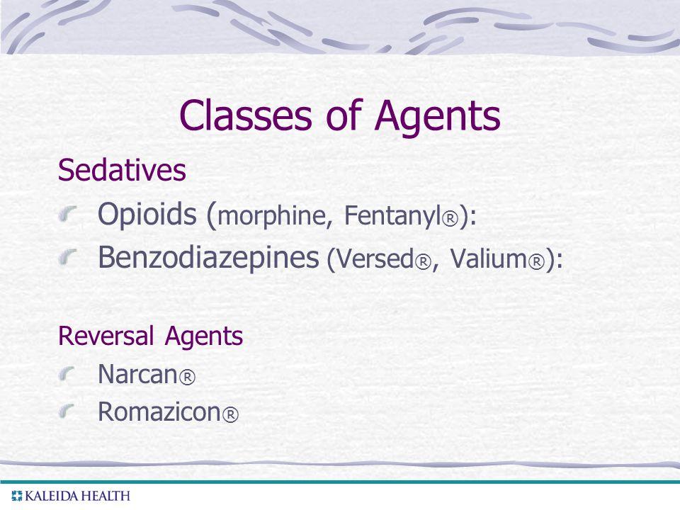 Classes of Agents Sedatives Opioids (morphine, Fentanyl®):