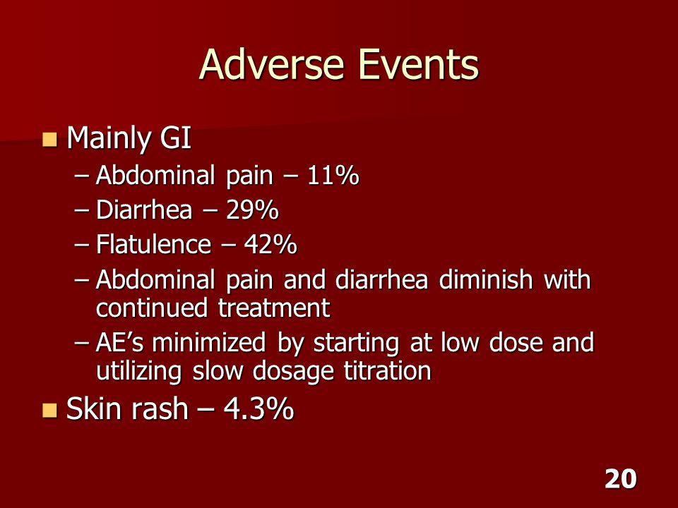 Adverse Events Mainly GI Skin rash – 4.3% Abdominal pain – 11%