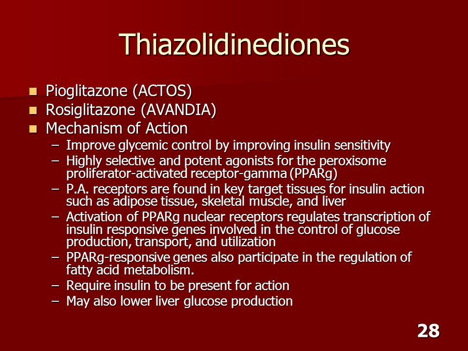 Thiazolidinediones Pioglitazone (ACTOS) Rosiglitazone (AVANDIA)