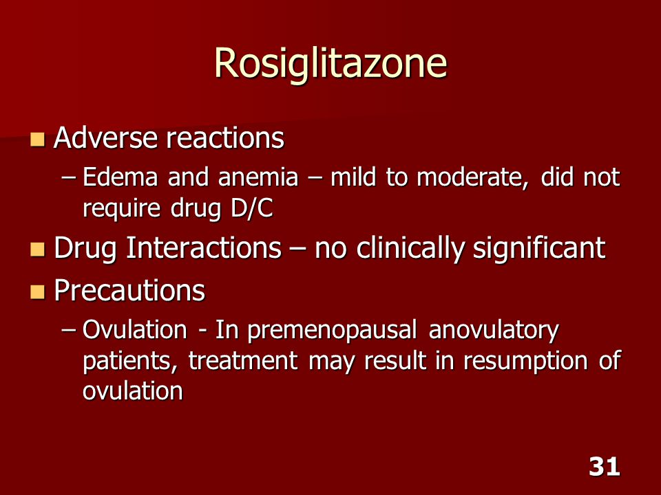 Rosiglitazone Adverse reactions