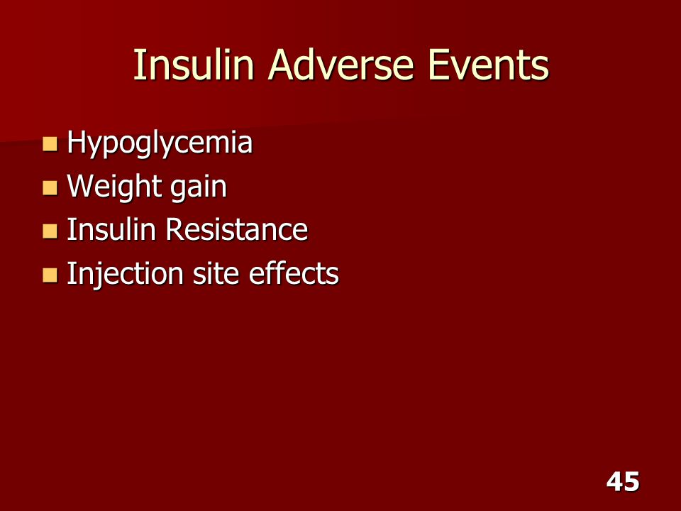 Insulin Adverse Events