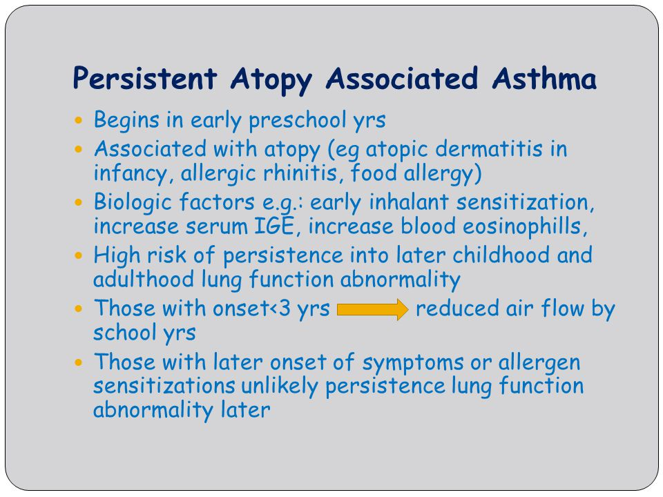 Persistent Atopy Associated Asthma