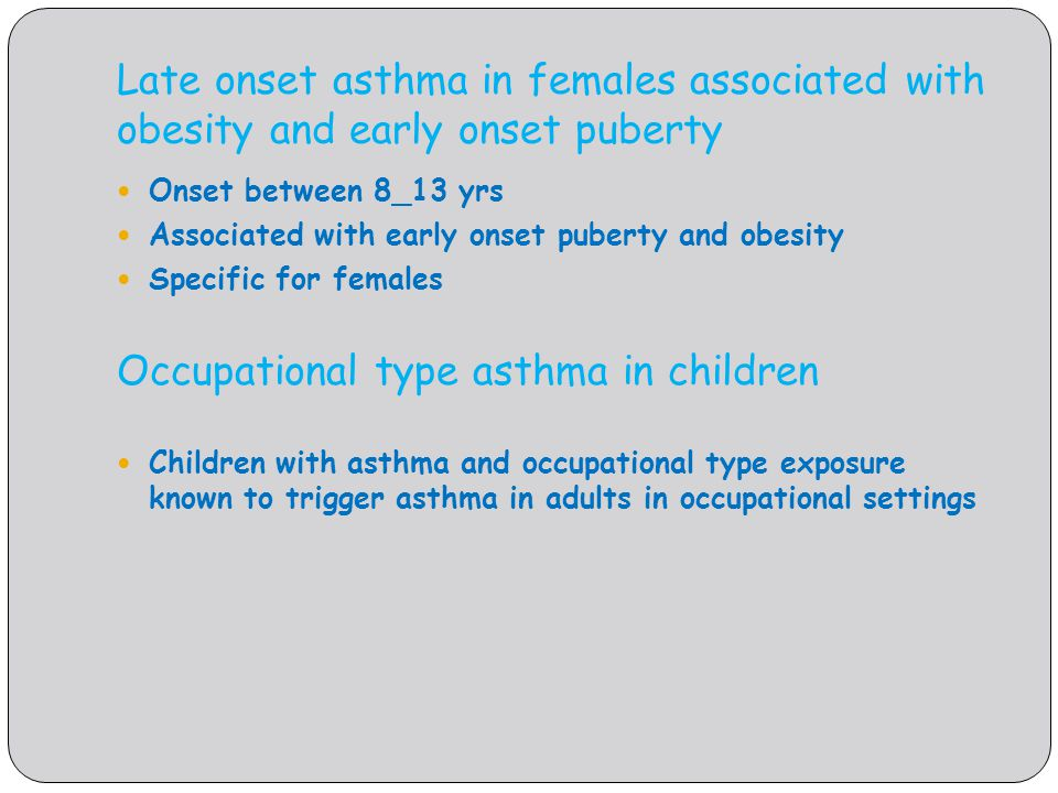 Occupational type asthma in children