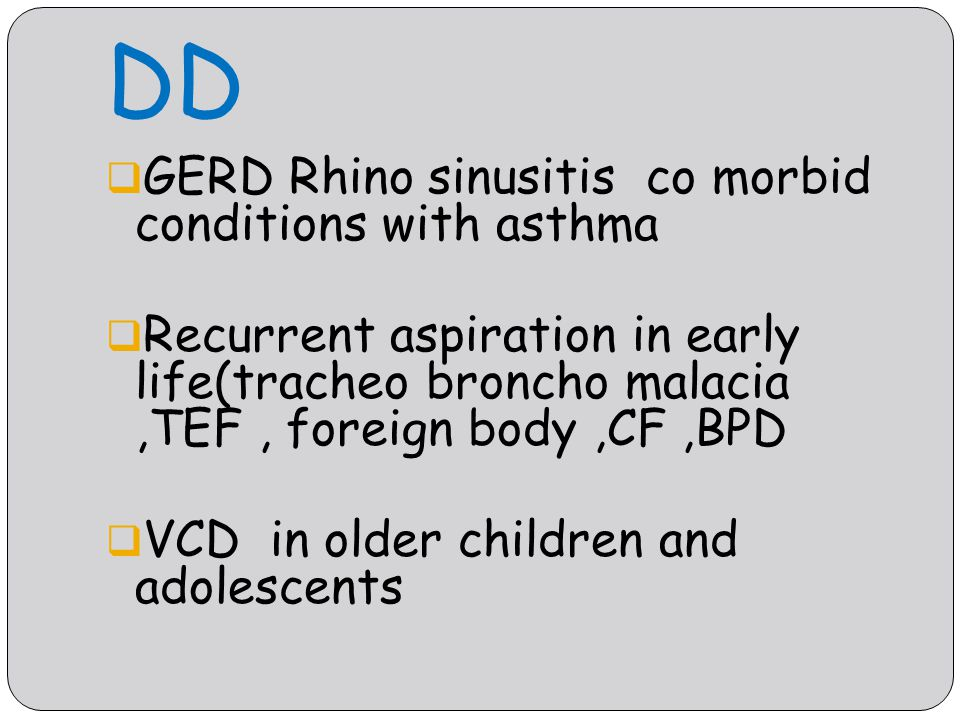 DD GERD Rhino sinusitis co morbid conditions with asthma